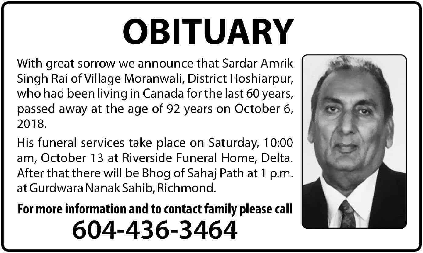 Surrey Auto Mall >> OBITUARY: AMRIK SINGH RAI | Indo-Canadian Voice