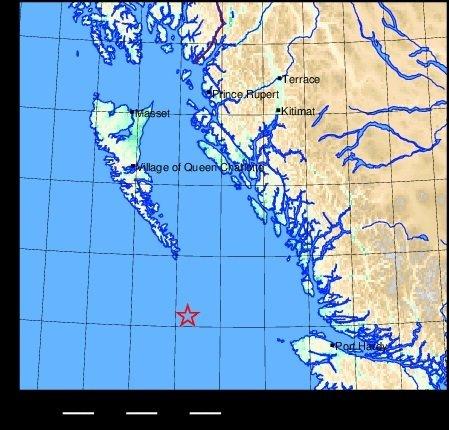 A 6.2 magnitude quake hits Haida Gwaii region
